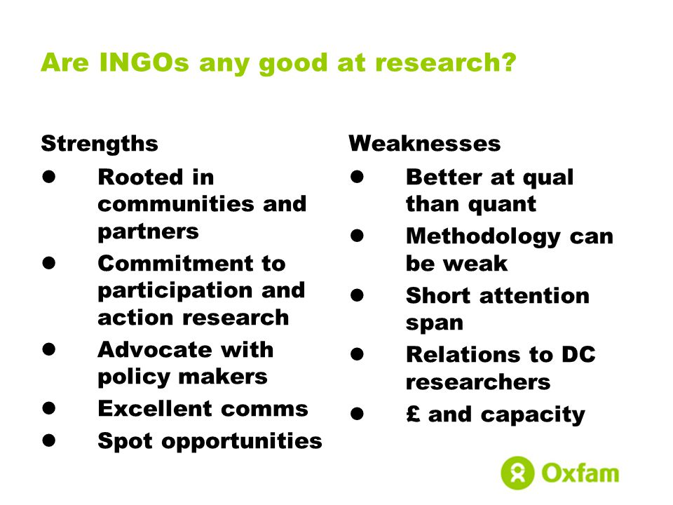 Are INGOs any good at research.