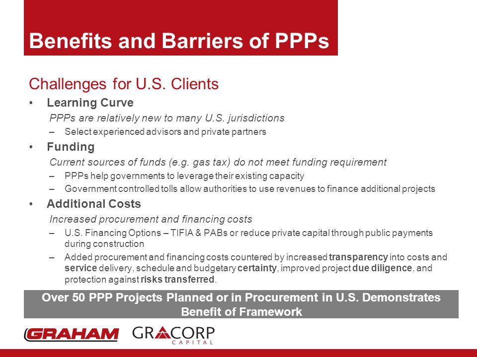 Benefits and Barriers of PPPs Challenges for U.S.