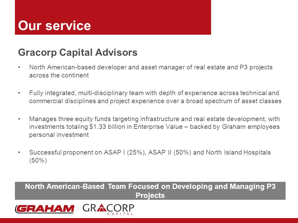 Our service Gracorp Capital Advisors North American-based developer and asset manager of real estate and P3 projects across the continent Fully integrated, multi-disciplinary team with depth of experience across technical and commercial disciplines and project experience over a broad spectrum of asset classes Manages three equity funds targeting infrastructure and real estate development, with investments totaling $1.33 billion in Enterprise Value – backed by Graham employees personal investment Successful proponent on ASAP I (25%), ASAP II (50%) and North Island Hospitals (50%) North American-Based Team Focused on Developing and Managing P3 Projects