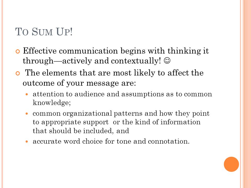 T O S UM U P .Effective communication begins with thinking it through—actively and contextually.