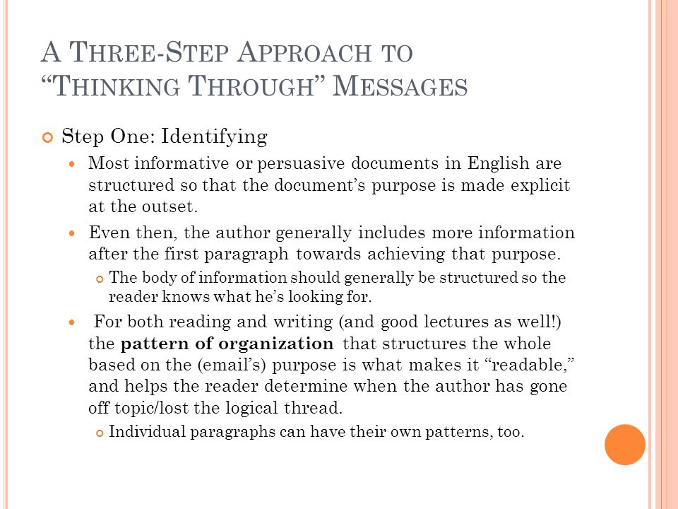 A T HREE -S TEP A PPROACH TO T HINKING T HROUGH M ESSAGES Step One: Identifying Most informative or persuasive documents in English are structured so that the document's purpose is made explicit at the outset.
