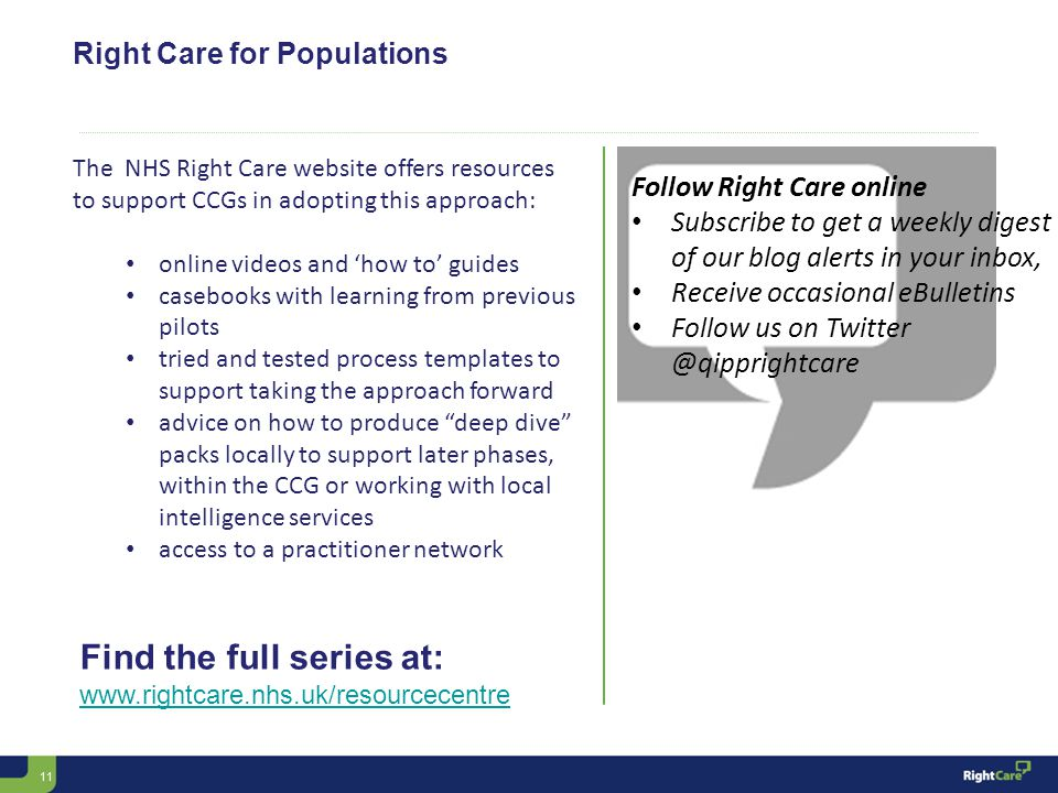 11 Right Care for Populations Follow Right Care online Subscribe to get a weekly digest of our blog alerts in your inbox, Receive occasional eBulletins Follow us on Twitter @qipprightcare Find the full series at: www.rightcare.nhs.uk/resourcecentre The NHS Right Care website offers resources to support CCGs in adopting this approach: online videos and 'how to' guides casebooks with learning from previous pilots tried and tested process templates to support taking the approach forward advice on how to produce deep dive packs locally to support later phases, within the CCG or working with local intelligence services access to a practitioner network