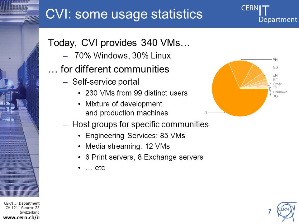 CERN IT Department CH-1211 Genève 23 Switzerland www.cern.ch/i t 7 CVI: some usage statistics Today, CVI provides 340 VMs… – 70% Windows, 30% Linux … for different communities –Self-service portal 230 VMs from 99 distinct users Mixture of development and production machines –Host groups for specific communities Engineering Services: 85 VMs Media streaming: 12 VMs 6 Print servers, 8 Exchange servers … etc