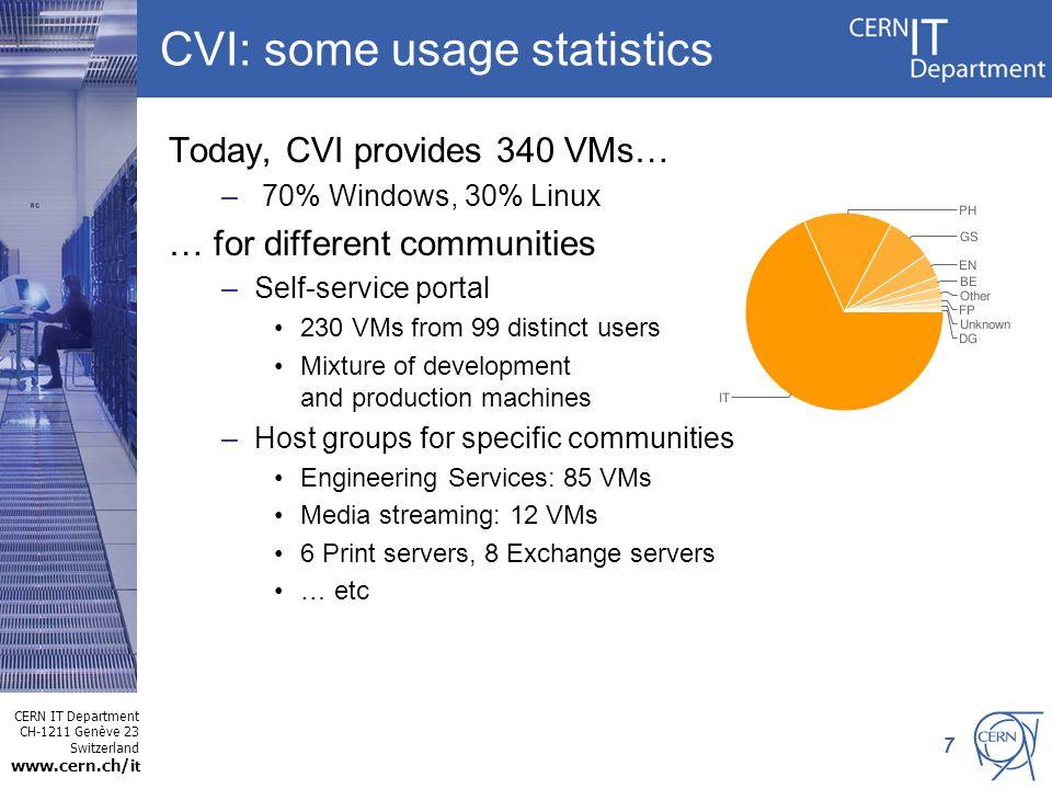 CERN IT Department CH-1211 Genève 23 Switzerland www.cern.ch/i t 7 CVI: some usage statistics Today, CVI provides 340 VMs… – 70% Windows, 30% Linux …