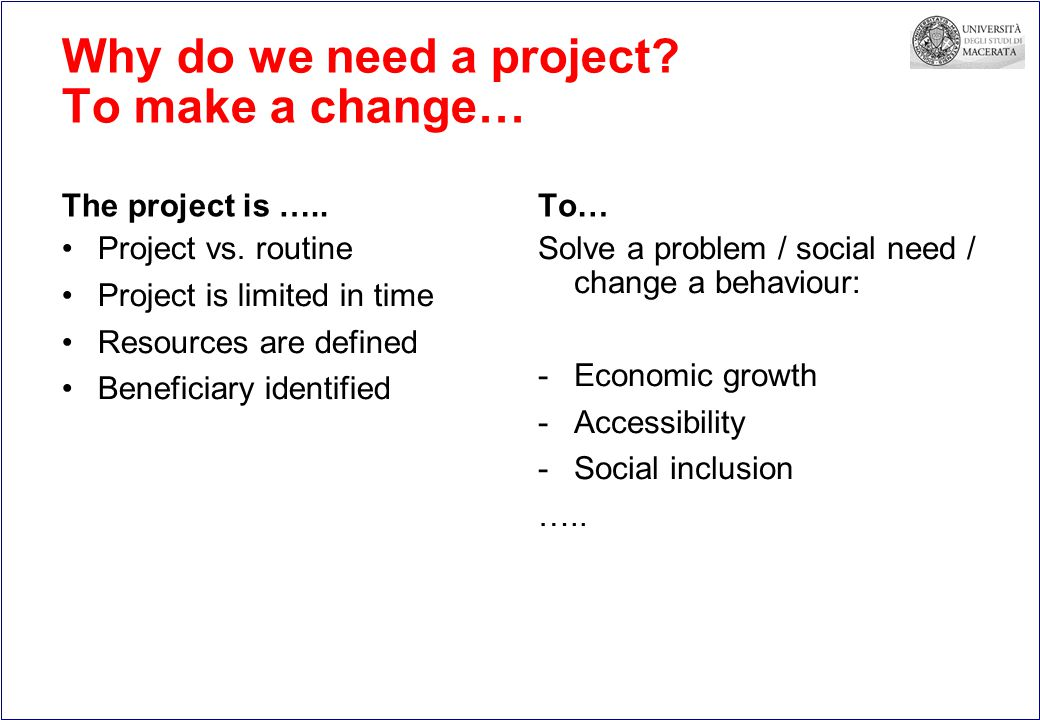 Why do we need a project. To make a change… The project is …..