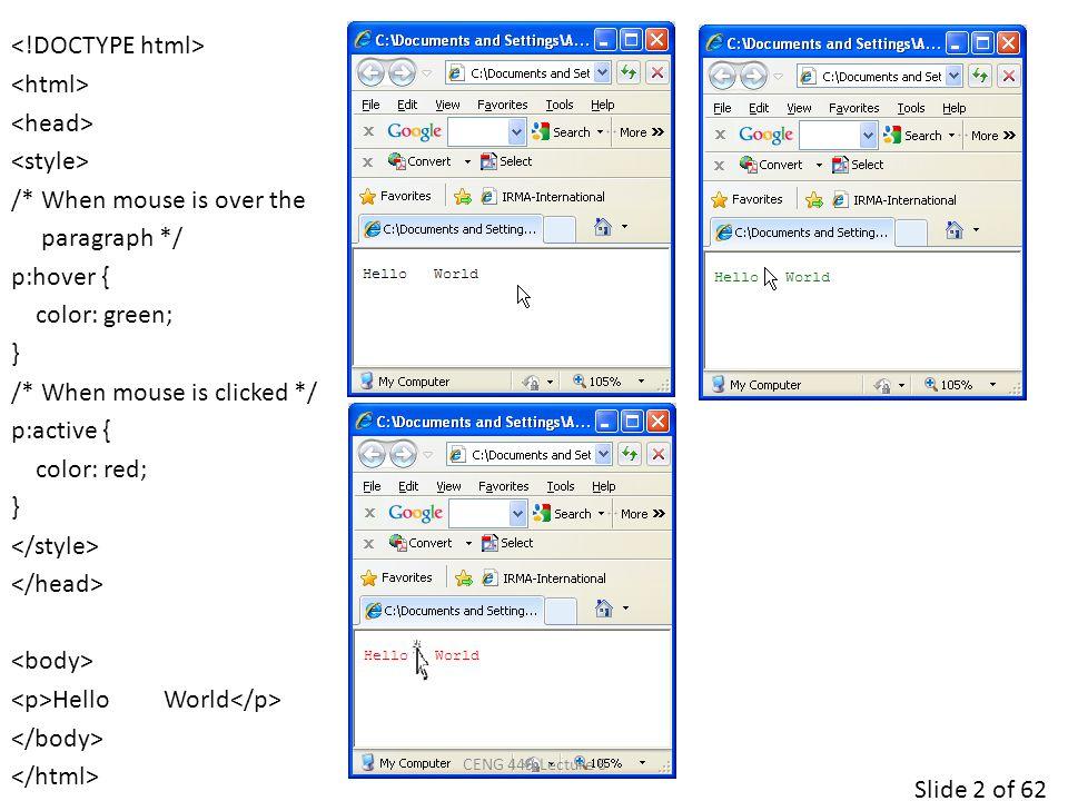 Slide 43 of 62 body{ padding: 30px; margin: 10px; } ul { list-style-type: none; padding: 10px; margin: 0px; border-style:dotted; border-color:red; } ul li { background-image: url(sqpurple.jpg); background-repeat: no-repeat; background-position: 0px 0px; /* background-position xpos ypos */ padding: 0px; margin: 0px; border:dashed; } Coffee &nbsp Tea &nbsp Coca Cola CENG 449 Lecture 6