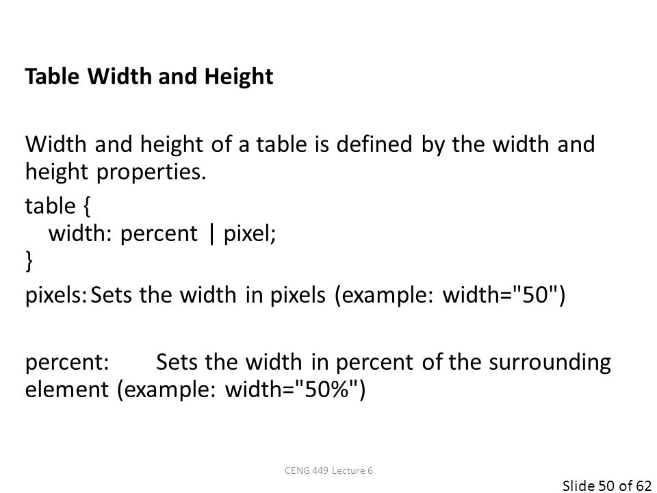 Slide 50 of 62 Table Width and Height Width and height of a table is defined by the width and height properties. table { width: percent | pixel; } pix