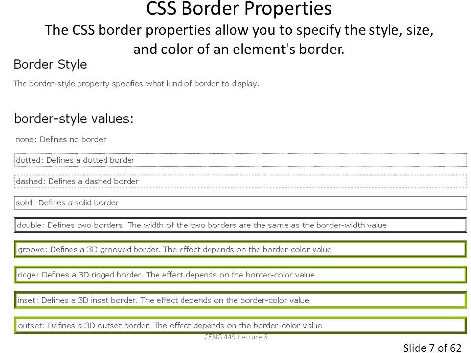 Slide 8 of 62 p.none {border-style: none;} p.dotted {border-style: dotted;} p.dashed {border-style: dashed;} p.solid {border-style: solid;} p.double {border-style: double;} p.groove {border-style: groove;} p.ridge {border-style: ridge;} p.inset {border-style: inset;} p.outset {border-style: outset;} p.hidden {border-style: hidden;} No border.