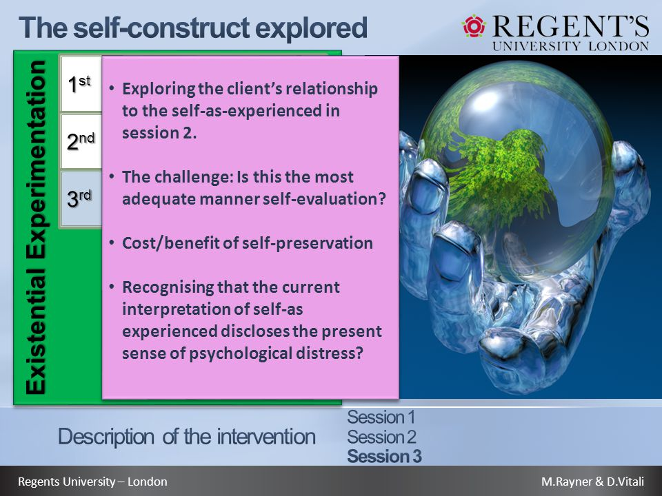 M.Rayner & D.VitaliRegents University – London Existential Experimentation 1 st 2 nd 3 rd Exploring the client's relationship to the self-as-experienced in session 2.