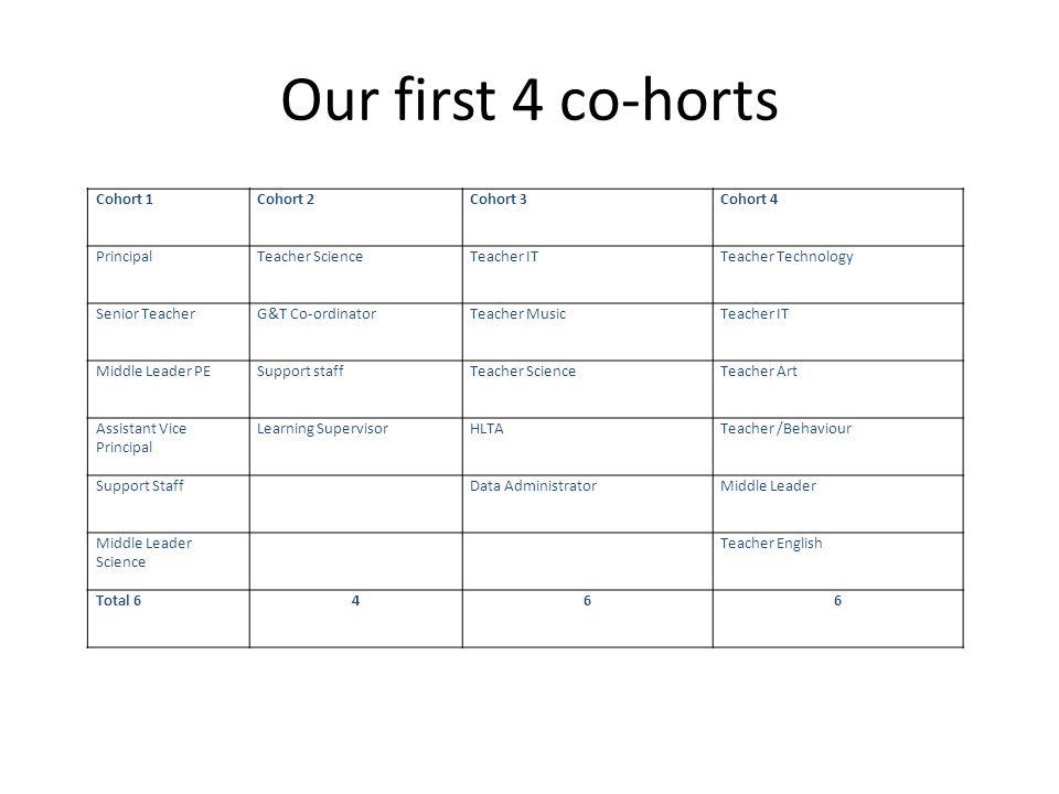 Our first 4 co-horts Cohort 1Cohort 2Cohort 3Cohort 4 PrincipalTeacher ScienceTeacher ITTeacher Technology Senior TeacherG&T Co-ordinatorTeacher Music