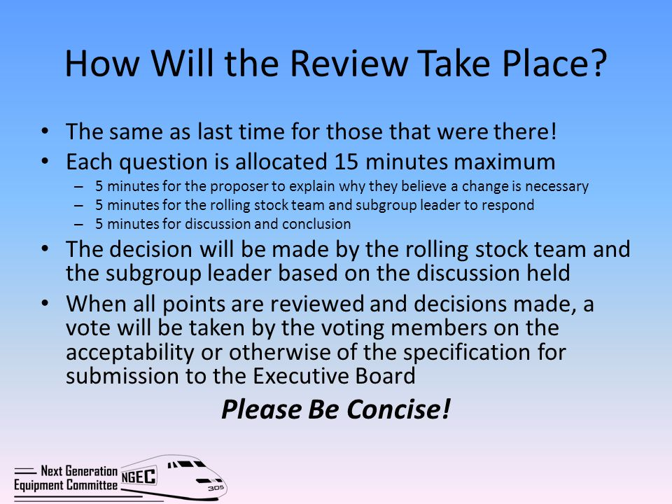 How Will the Review Take Place? The same as last time for those that were there! Each question is allocated 15 minutes maximum – 5 minutes for the pro
