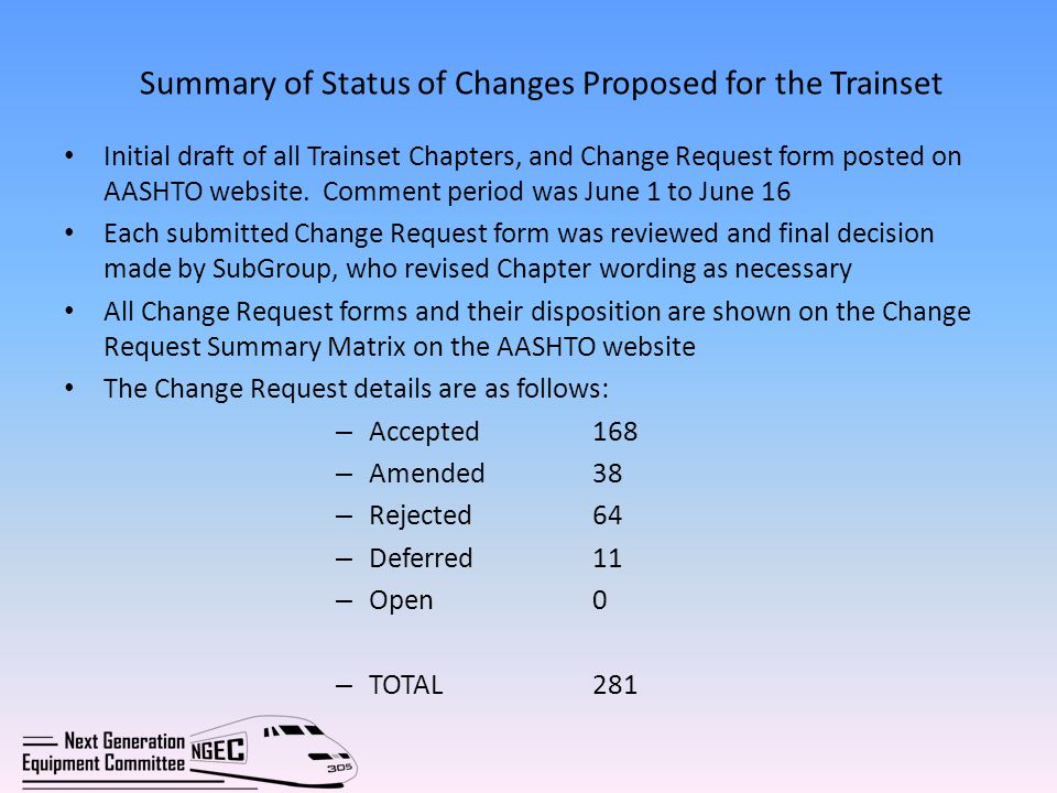 Summary of Status of Changes Proposed for the Trainset Initial draft of all Trainset Chapters, and Change Request form posted on AASHTO website.