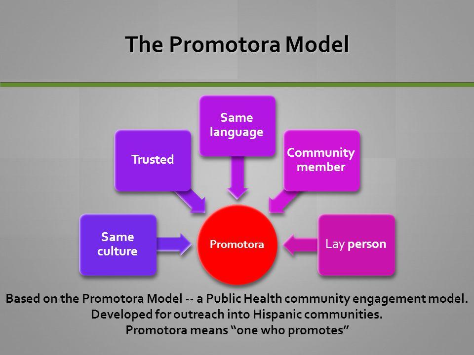The Promotora Model Promotora Same culture Trusted Same language Community member Lay person Based on the Promotora Model -- a Public Health community