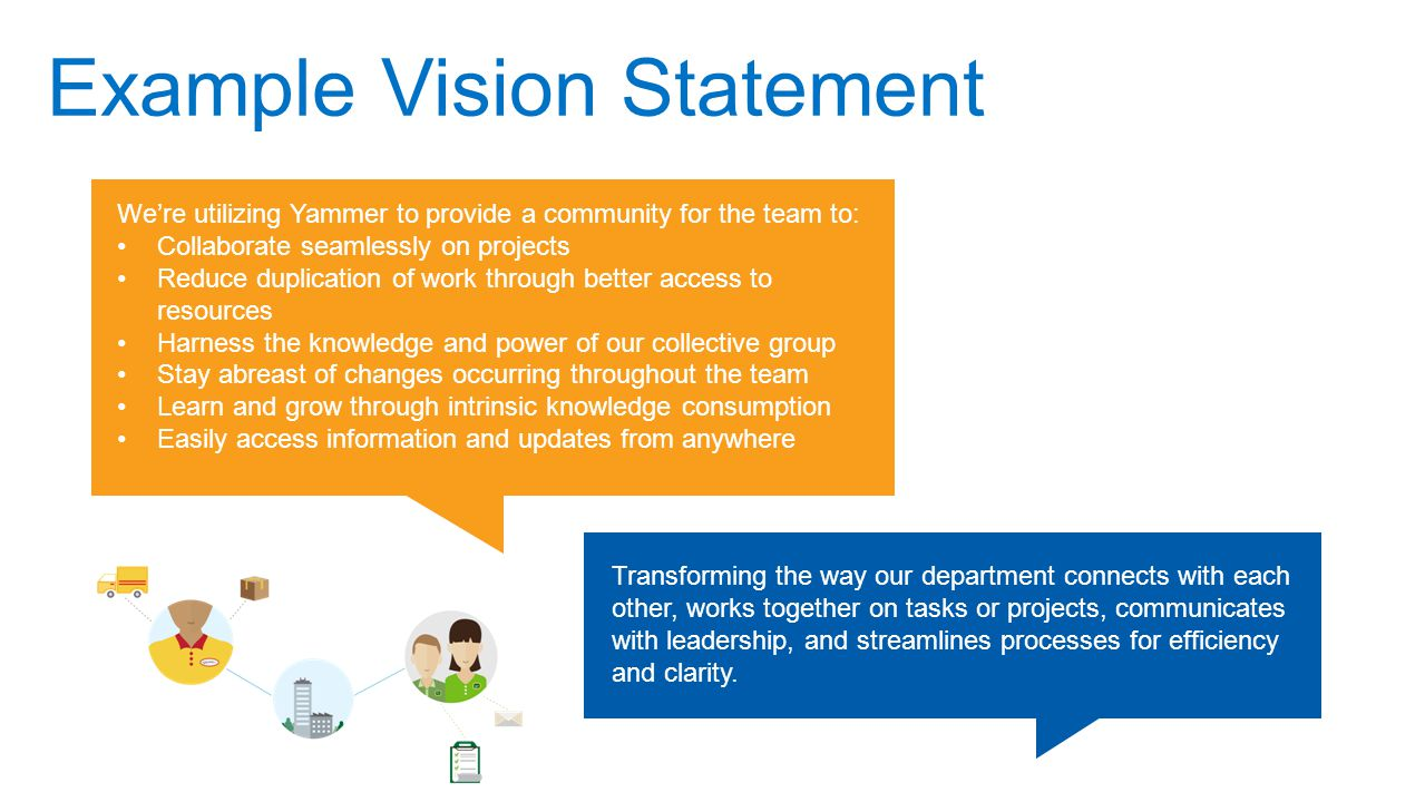 Example Vision Statement We're utilizing Yammer to provide a community for the team to: Collaborate seamlessly on projects Reduce duplication of work