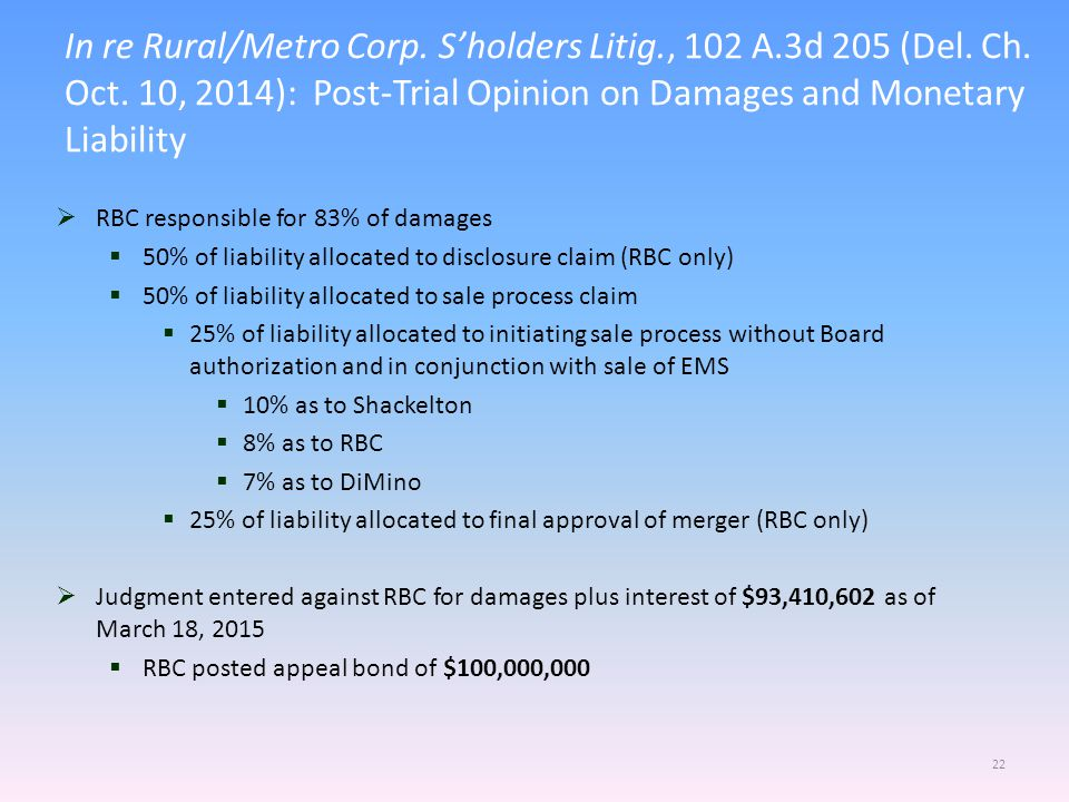 In re Rural/Metro Corp.S'holders Litig., 102 A.3d 205 (Del.