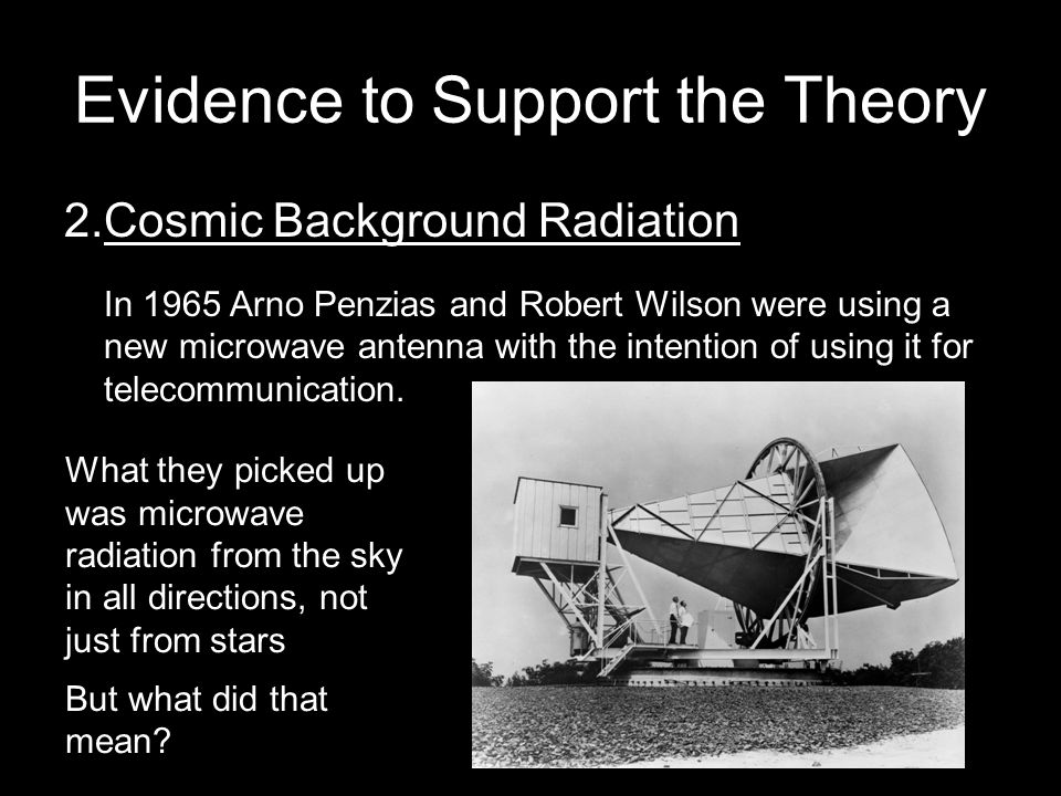 Evidence to Support the Theory 2.Cosmic Background Radiation In 1965 Arno Penzias and Robert Wilson were using a new microwave antenna with the intention of using it for telecommunication.