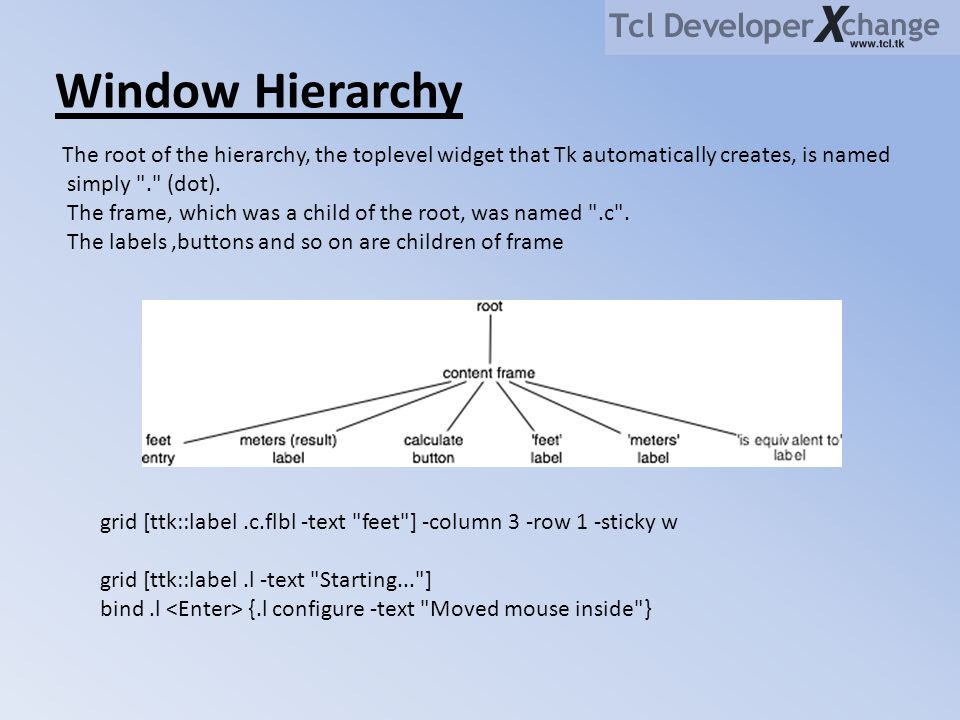 Window Hierarchy The root of the hierarchy, the toplevel widget that Tk automatically creates, is named simply