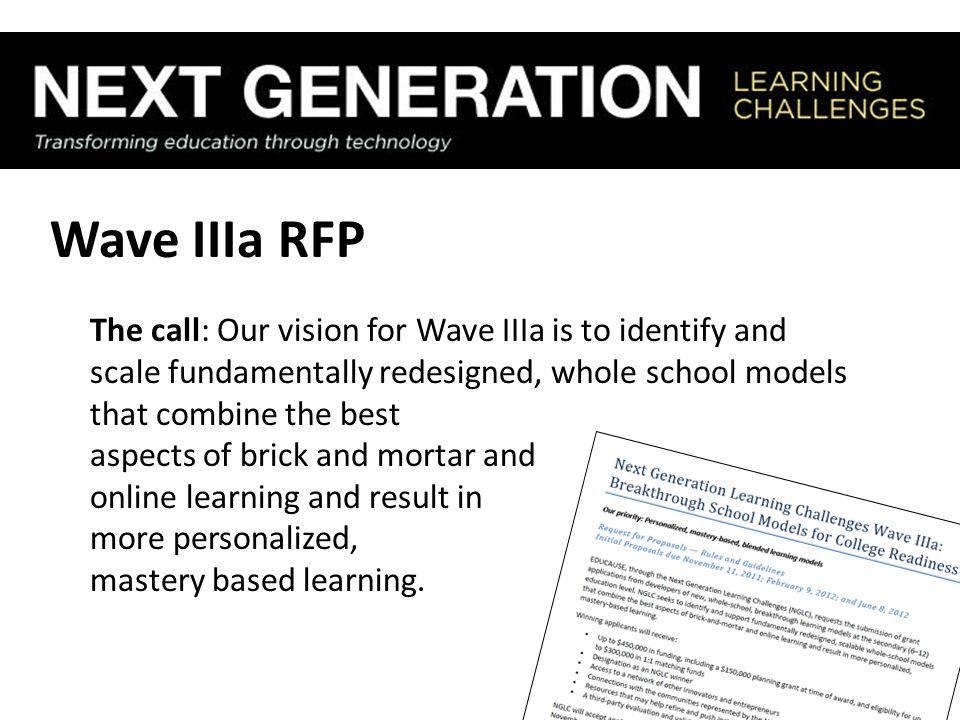 Wave IIIa RFP The call: Our vision for Wave IIIa is to identify and scale fundamentally redesigned, whole school models that combine the best aspects