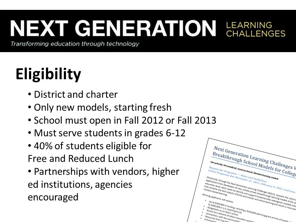 Eligibility District and charter Only new models, starting fresh School must open in Fall 2012 or Fall 2013 Must serve students in grades 6-12 40% of