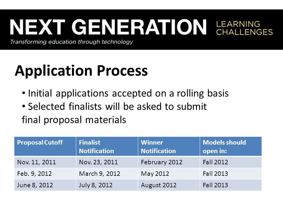 Application Process Initial applications accepted on a rolling basis Selected finalists will be asked to submit final proposal materials Proposal Cuto