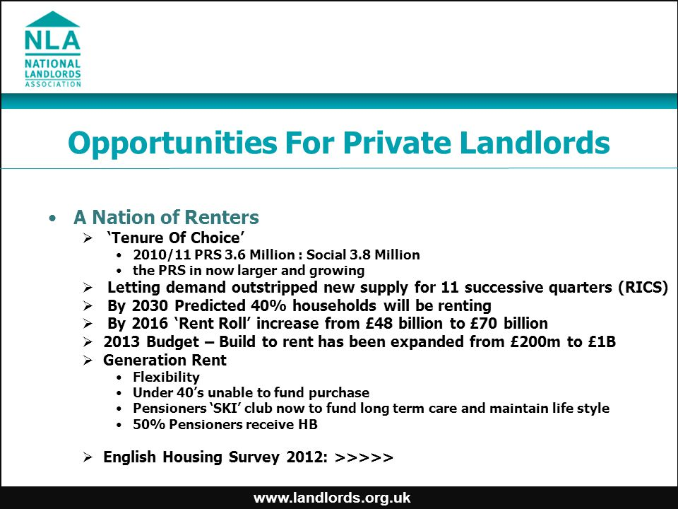 www.landlords.org.uk Opportunities For Private Landlords A Nation of Renters  'Tenure Of Choice' 2010/11 PRS 3.6 Million : Social 3.8 Million the PRS