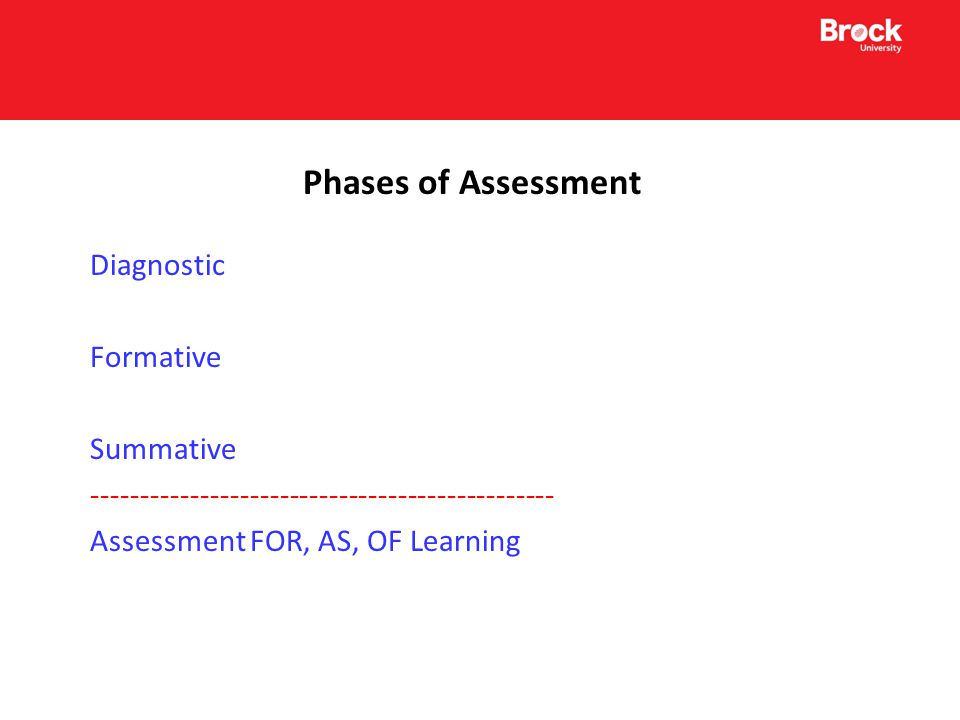 Assessment of Learning Summative assessment designed to certify learning and report to parents and students about their progress in school.