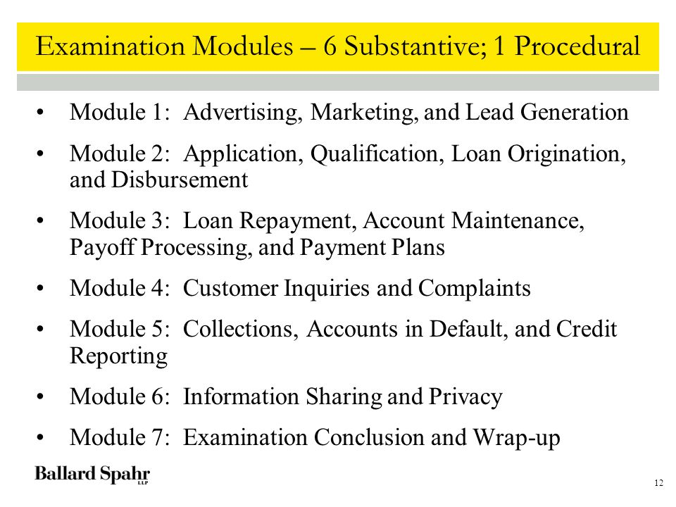 12 Examination Modules – 6 Substantive; 1 Procedural Module 1: Advertising, Marketing, and Lead Generation Module 2: Application, Qualification, Loan