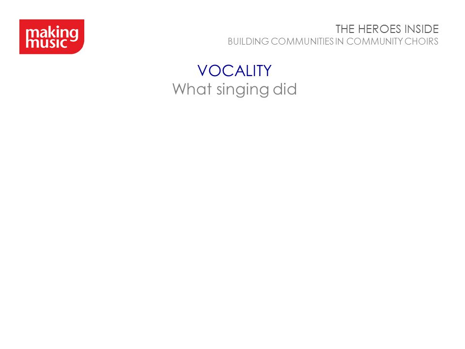 VOCALITY What singing did THE HEROES INSIDE BUILDING COMMUNITIES IN COMMUNITY CHOIRS
