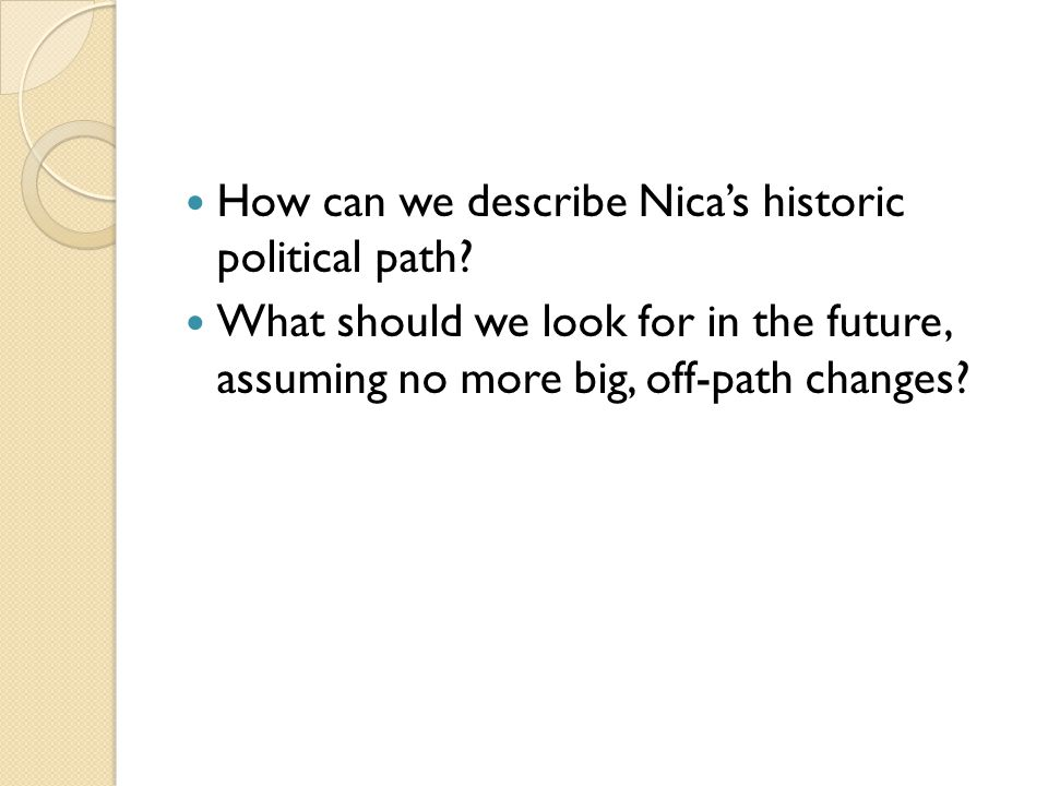 How can we describe Nica's historic political path.