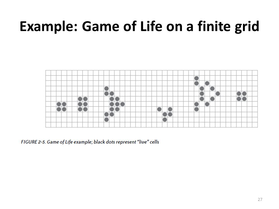 Example: Game of Life on a finite grid 27