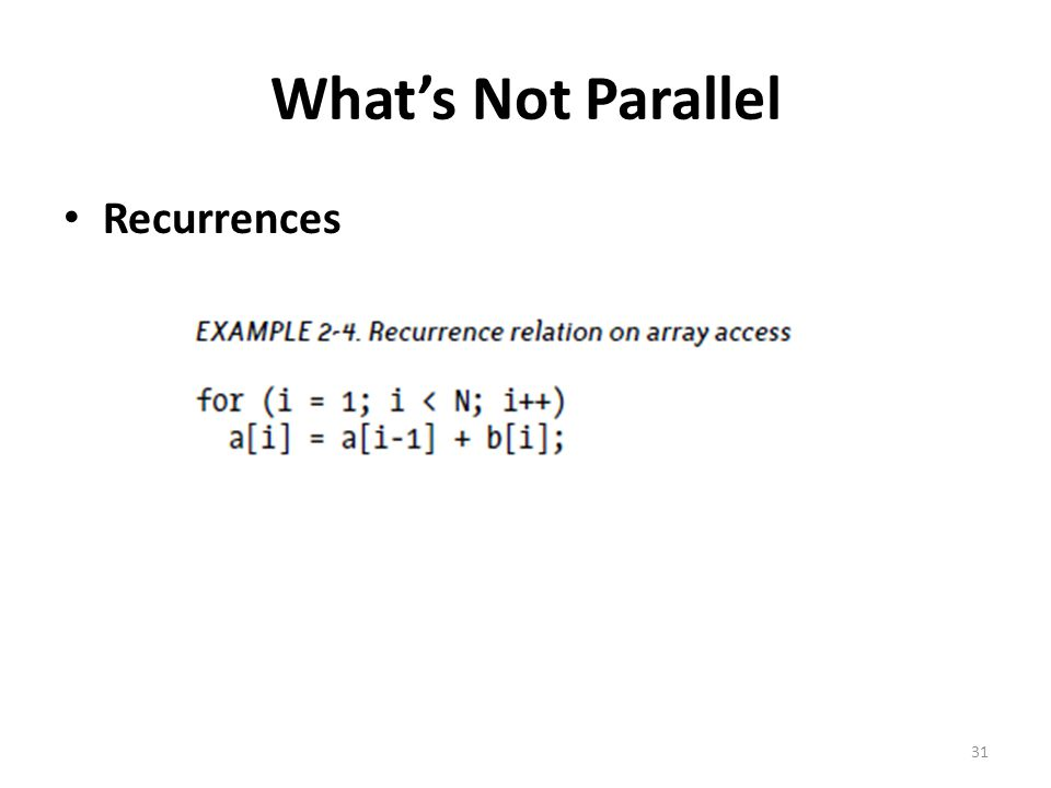 What's Not Parallel Recurrences 31