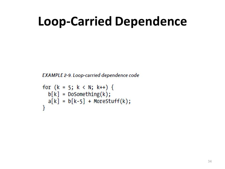 Loop-Carried Dependence 34