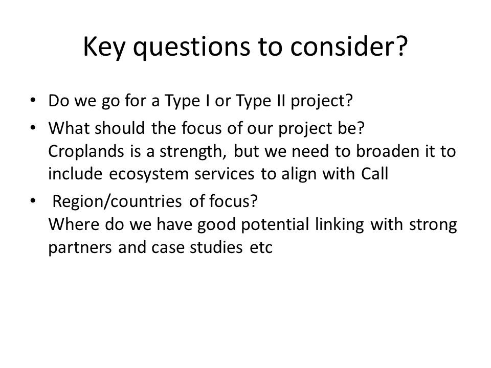 Key questions to consider? Do we go for a Type I or Type II project? What should the focus of our project be? Croplands is a strength, but we need to