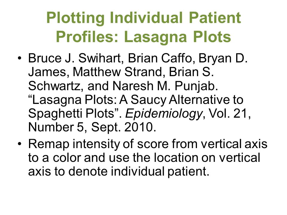 Plotting Individual Patient Profiles: Lasagna Plots Bruce J.