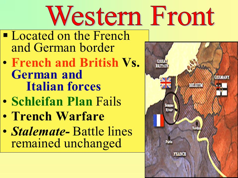 Marne River- Germans stopped @ outskirts of Paris ending Schlieffen Plan Verdun – German offensive failed Somme River- Allied Offensive failed  Millions of soldiers killed for no gain