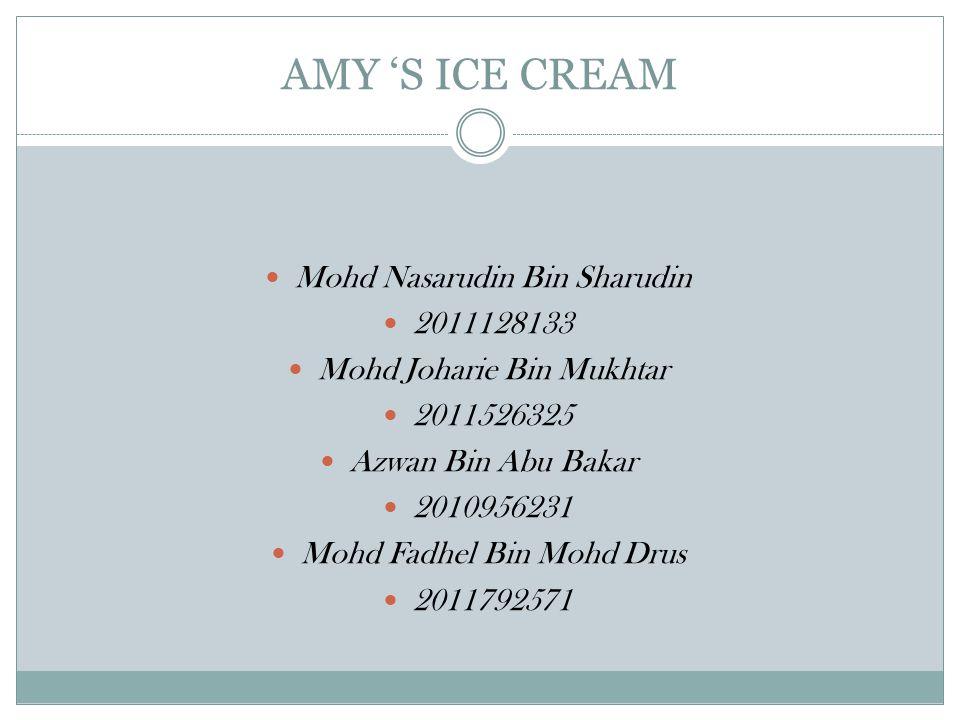 AMY 'S ICE CREAM Mohd Nasarudin Bin Sharudin 2011128133 Mohd Joharie Bin Mukhtar 2011526325 Azwan Bin Abu Bakar 2010956231 Mohd Fadhel Bin Mohd Drus 2011792571
