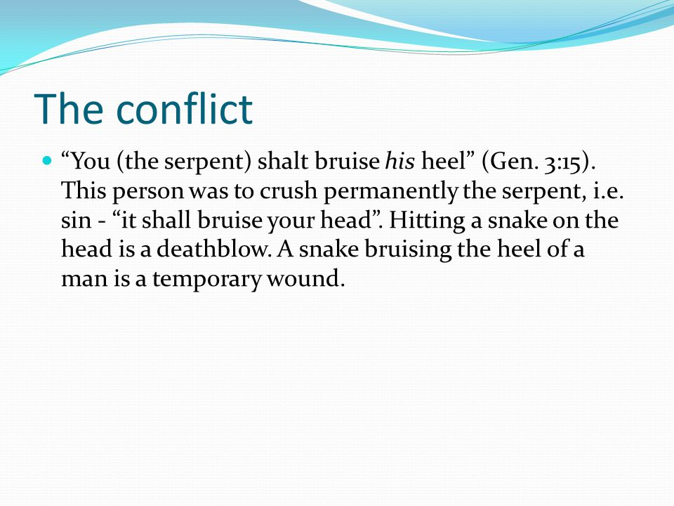 The conflict You (the serpent) shalt bruise his heel (Gen.