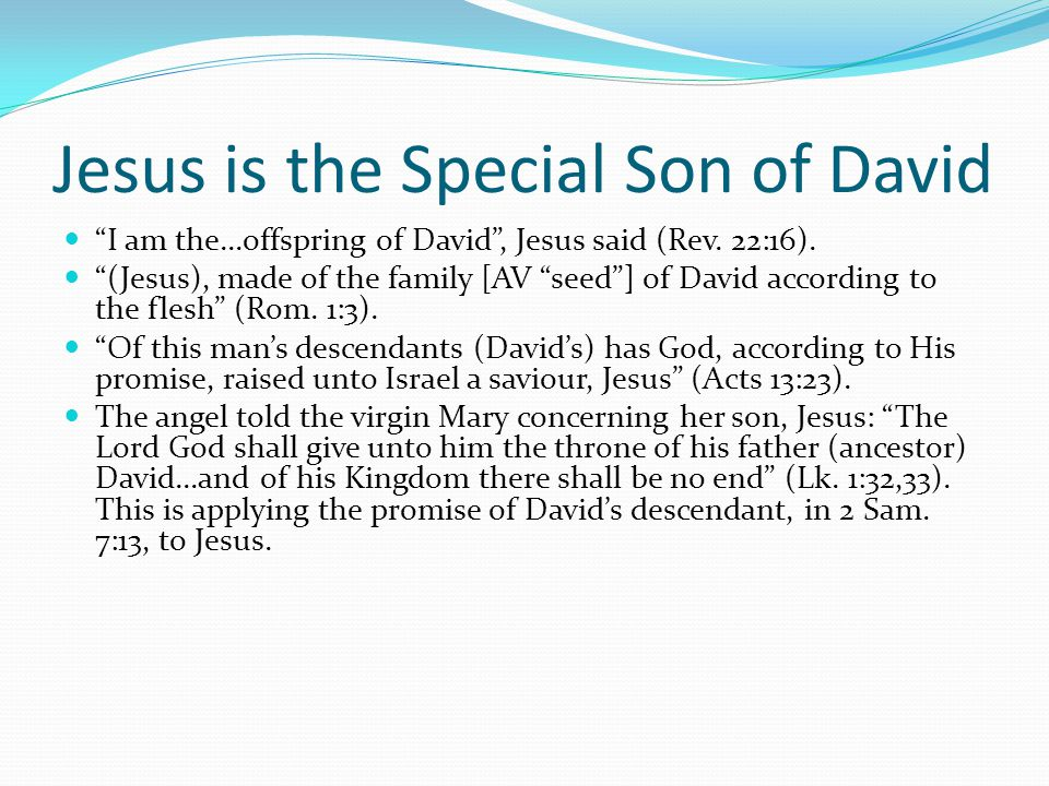 Jesus is the Special Son of David I am the...offspring of David , Jesus said (Rev.