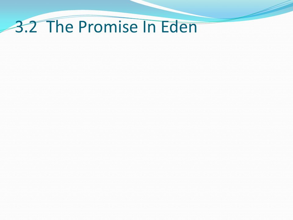 3.2 The Promise In Eden