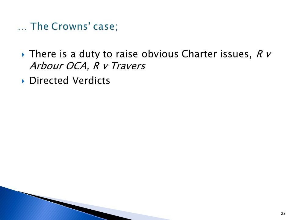  There is a duty to raise obvious Charter issues, R v Arbour OCA, R v Travers  Directed Verdicts 25