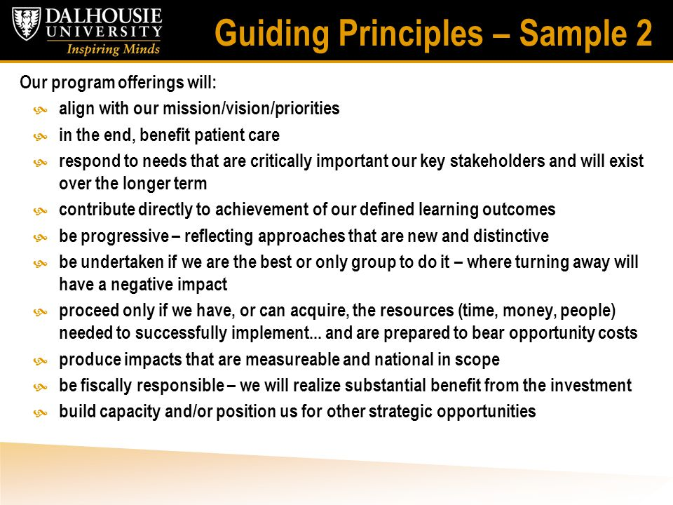 Guiding Principles – Sample 2 Our program offerings will:  align with our mission/vision/priorities  in the end, benefit patient care  respond to n