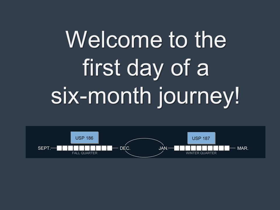 Welcome to the first day of a six-month journey!