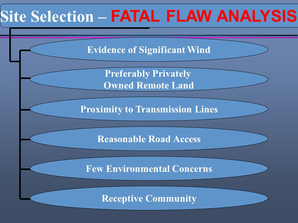 Evidence of Significant Wind Preferably Privately Owned Remote Land Proximity to Transmission Lines Reasonable Road Access Few Environmental Concerns
