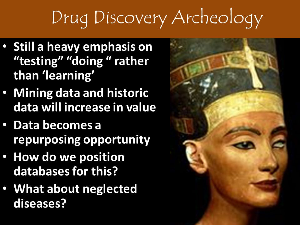 Drug Discovery Archeology Still a heavy emphasis on testing doing rather than 'learning' Mining data and historic data will increase in value Data becomes a repurposing opportunity How do we position databases for this.