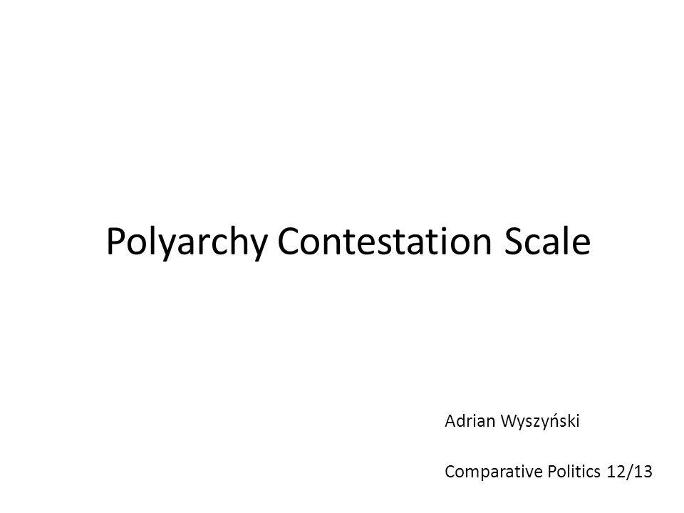 Polyarchy Contestation Scale Adrian Wyszyński Comparative Politics 12/13