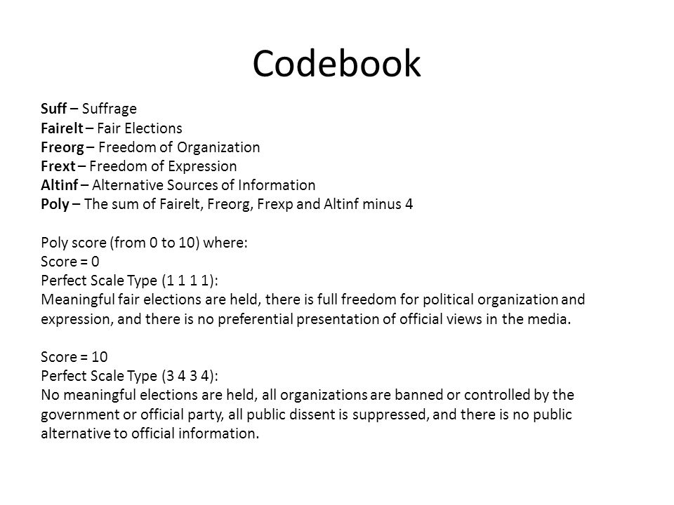 Codebook Suff – Suffrage Fairelt – Fair Elections Freorg – Freedom of Organization Frext – Freedom of Expression Altinf – Alternative Sources of Infor