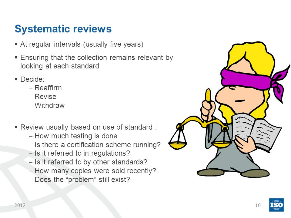 Systematic reviews  At regular intervals (usually five years)  Ensuring that the collection remains relevant by looking at each standard  Decide: ‒ Reaffirm ‒ Revise ‒ Withdraw  Review usually based on use of standard : ‒ How much testing is done ‒ Is there a certification scheme running.