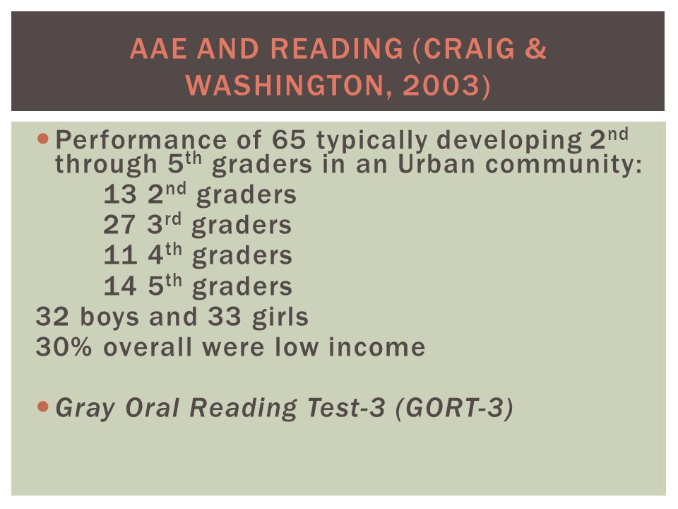 AAE AND READING (CRAIG & WASHINGTON, 2003) Performance of 65 typically developing 2 nd through 5 th graders in an Urban community: 13 2 nd graders 27 3 rd graders 11 4 th graders 14 5 th graders 32 boys and 33 girls 30% overall were low income Gray Oral Reading Test-3 (GORT-3)