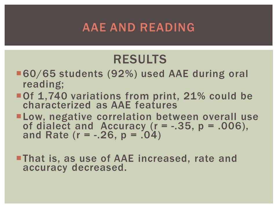 AAE AND READING RESULTS  60/65 students (92%) used AAE during oral reading;  Of 1,740 variations from print, 21% could be characterized as AAE features  Low, negative correlation between overall use of dialect and Accuracy (r = -.35, p =.006), and Rate (r = -.26, p =.04)  That is, as use of AAE increased, rate and accuracy decreased.