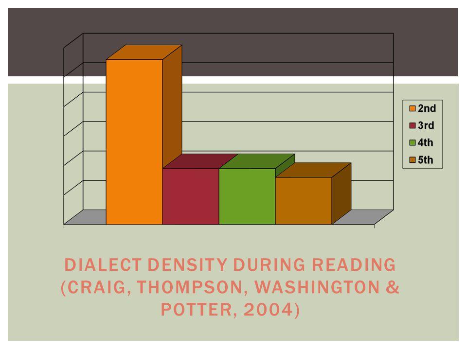 DIALECT DENSITY DURING READING (CRAIG, THOMPSON, WASHINGTON & POTTER, 2004)